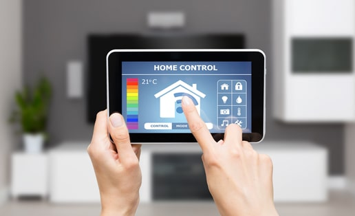 smart home interface on a tablet